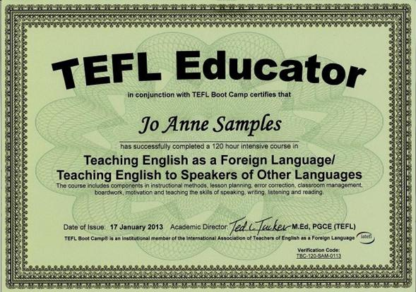 Online tefl certification course 120 hours for Tefl certificate template